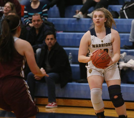 Lourdes' Samantha Fisher lines up a shot as she's covered by Arlington's Morgan Hammel during Friday's game in the Town of Poughkeepsie on January 17, 2020.