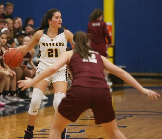 Lourdes' Mikayla Russo takes the ball up court against Arlington during a girls basketball game on Jan. 17.