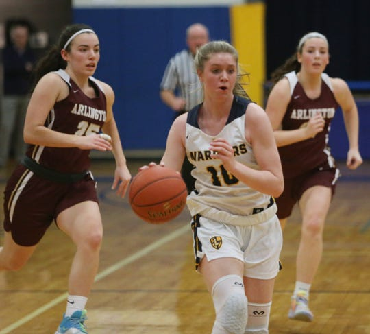 Lourdes' Skyler Felice brings the ball into shooting range as  Arlington's defense plays catch up during Friday's game in the Town of Poughkeepsie on January 17, 2020.