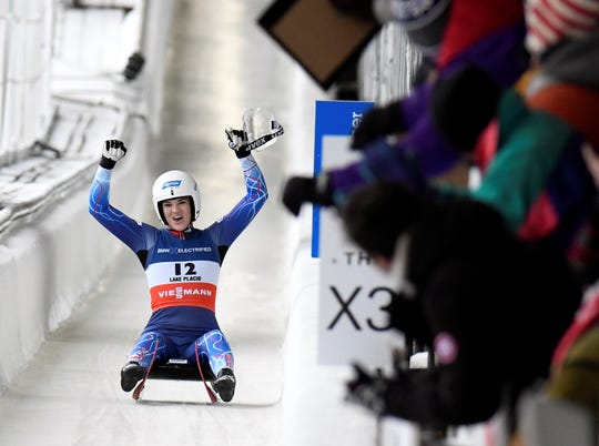 Glen Rock's Summer Britcher, seen here in a file photo, finished second in a World Cup women's luge race in Lillehammer, Norway.
