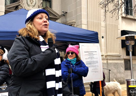 Dr. Judith Higgins speaks to community activists during the Women's March in York City, Saturday, Jan. 18, 2020. Dawn J. Sagert photo