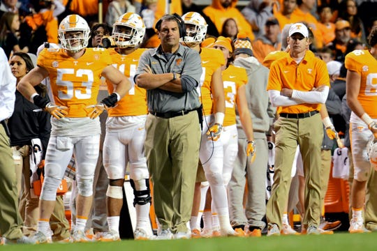 Brady Hoke, pictured as the interim coach at Tennessee, will be returning to the San Diego State sideline.