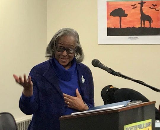 Ruth Scott, the first African American woman elected to Rochester City Council, delivers her speech during the Keep the Dream Alive celebration at the Arnett Public Library Branch in Rochester's 19th Ward. It is one of many events celebrating the life of slain civil rights leader Martin Luther King Jr.