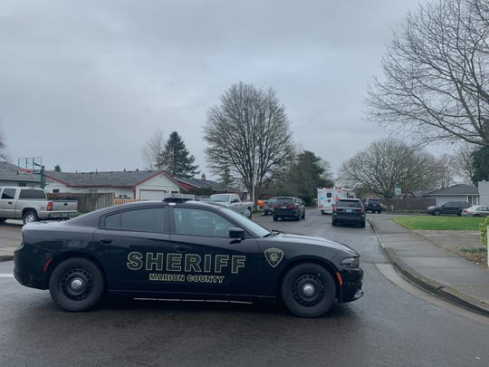 Deputies with Marion County Sheriff's Department respond to an active standoff with a barricaded individual in the 4500 block of Agate Dr SE in the Salem area.