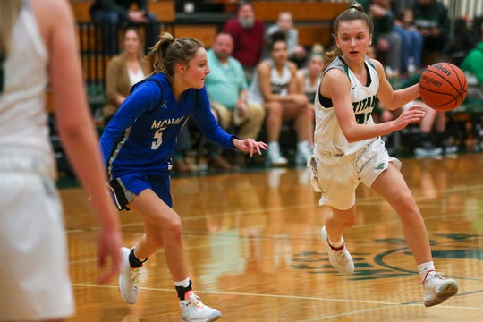 West's Mya Adams, 22, drives the ball down the court during the West Salem vs. McNary girls basketball game at West Salem High School on Jan. 17, 2020. West won, 61-45.
