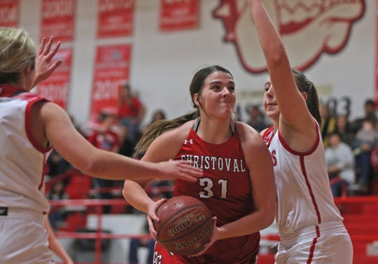 Sterling Baker, center, drives to the basket for Christoval during a game against Miles on Friday, Jan. 17, 2020.