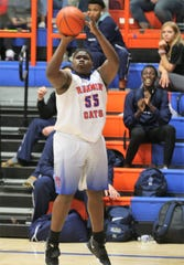 San Angelo Central's Dwayne Huff puts up a jumper during a game against Hurst Bell at Babe Didrikson Gym on Friday, Jan. 17, 2020.