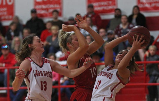 Mikaela Fernandez, right, rebounds the ball for Miles during a game against Christoval on Friday, Jan. 17, 2020.