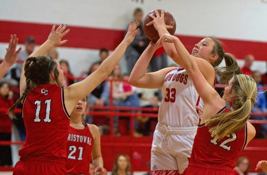 Regan Smithwick, right, launches a shot for Miles during a game against Christoval on Friday, Jan. 17, 2020.