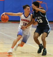San Angelo Central's Tristan Lopez, left, scored a team-high 18 points in a 72-54 loss against Hurst Bell at Babe Didrikson Gym on Friday, Jan. 17, 2020.