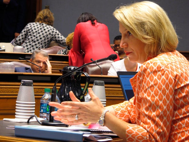 In this Aug. 13, 2019 file photo, Louisiana Health Secretary Rebekah Gee answers questions from the joint House and Senate budget committee about new contract awards for the Medicaid managed care program in Baton Rouge, La. Gee, who launched the Democrat's Medicaid expansion program but faced repeated criticism from Republicans about her management of it, is leaving the Edwards administration as the governor begins his second term in office. Gee, a medical doctor who has led the Department of Health since 2016, is resigning from the position effective Jan. 31, the governor's office announced Monday, Jan. 6, 2020.