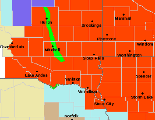 Southeastern South Dakota is under a blizzard warning until 6 p.m. on Saturday, followed by a wind chill advisory until 12 p.m. on Sunday.