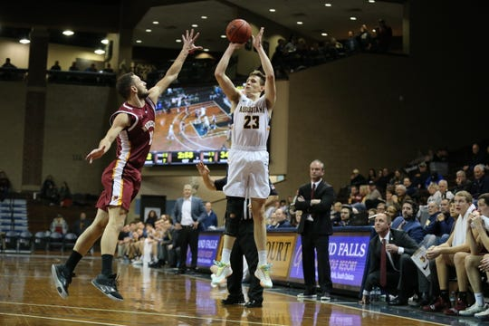 Augustana's Matt Cartwright goes up for a shot Friday during his team's loss to Northern State