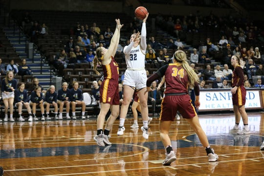 Augustana's Aislinn Duffy shoots over a Northern State defender in the Vikings' win over the Wolves at the Sanford Pentagon