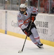 St. Cloud State sophomore Nolan Walker skates with the puck Saturday, Jan. 18, 2020, at Herb Brooks National Hockey Center.