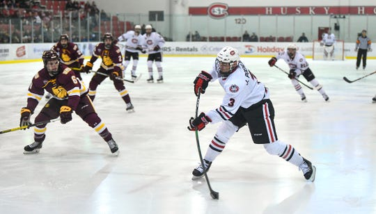 St. Cloud State's Jack Poehling takes a shot during the first period of the Friday, Jan. 17, 2020, game against MInnesota-Duluth at the Herb Brooks National Hockey Center in St. Cloud.