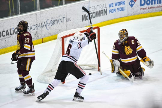 St. Cloud State's Easton Brodzinski celebrates a SCSU goal during the first period of the Friday, Jan. 17, 2020, game at the Herb Brooks National Hockey Center in St. Cloud.
