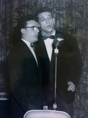 Bill Cunningham (right) sings with his cousin Bobby Little for a dinner for the mayor of Toronto in 1956.