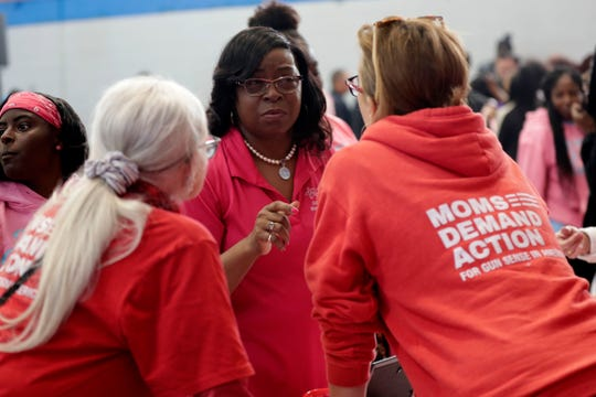 Mayor Pro Temp Diane Williams-Cox speaks with representatives from Moms Demand Action during the We Believe in Youth Rally on Saturday, Jan. 18, 2020.