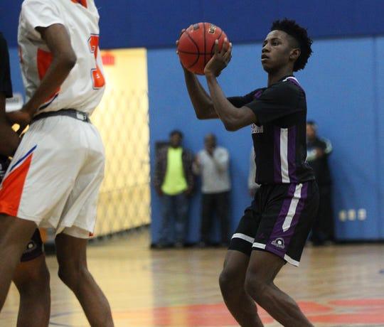 Crossroad senior De'Onta Jones shoots a jumper as Crossroad Academy's boys basketball team beat Jefferson County 92-68 on Jan. 17, 2020.