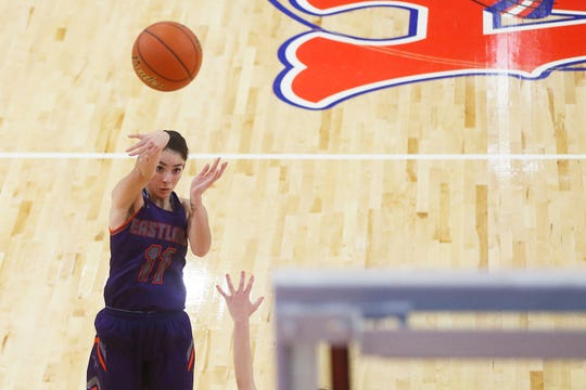 Eastlake's Cheyanne Bonilla takes a shot against Bel Air during the game Friday, Jan. 17, at Bel Air's new gym in El Paso.