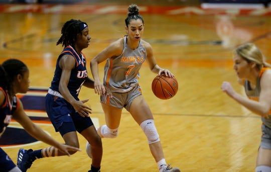 Katia Gallegos dribbles against UTSA during Saturday's game at the Don Haskins Center
