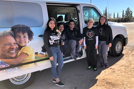 Left to right, Ophelia Tran, Jessica Argueta, Franz Puyol, Liliana Bonilla, and Maria Aleman, pediatric residents and students at the Texas Tech University Paul L. Foster School of Medicine, outside a new Texas Tech Mobile Care Van.
