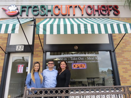 Fresh Curry Chefs in Camarillo offers take-out, dine-in and meal-kit options for Indian food. The family-owned business is operated by Yash Narang, center, wife Kiran Narang, right, and the couple's daughter, Garima Narang.
