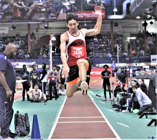 Fox Lane's Jack Carl long jumps his way to silver at the New Balance Games Jan. 18, 2020 at The Armory.