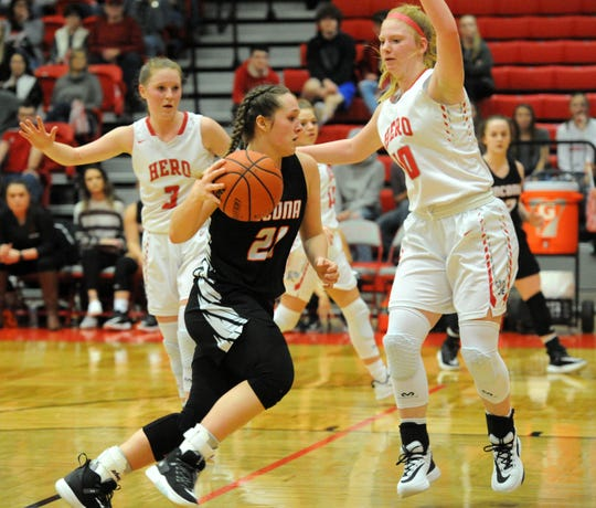 Nocona's Averee Kleinhans dribbles the basket against Holliday's Campbell Jurecek in a District 8-3A game in Holliday on Friday, Jan. 17, 2020.