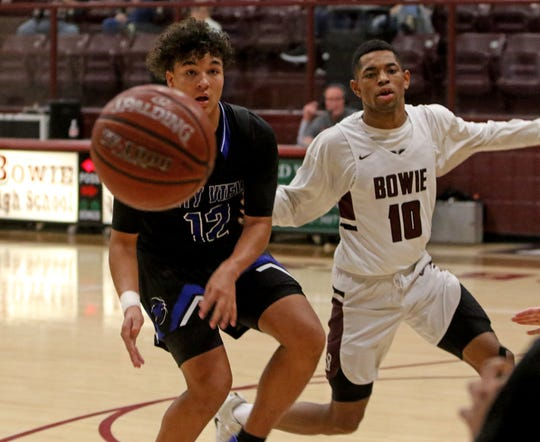 City View's Isaiah Marks passes in the game against Bowie Friday, Jan. 17, 2020, in Bowie.