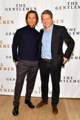"Matthew McConaughey and Hugh Grant attend the NY Photo Call for ""The Gentlemen"" at The Whitby Hotel on January 11, 2020 in New York City."