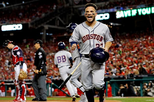 Astros second baseman Jose Altuve reacts after scoring a run during the first inning against the Washington Nationals in Game 4 of the 2019 World Series at Nationals Park.