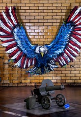 A mural painted by Calina Mishay Johnson appears to swoop down onto a World War II-era Russian Maxim machine gun Jan. 2, 2020 in Haskell. Fort Sam Military and Antique Vehicles, Haskell County Museum opened at the beginning of the year.