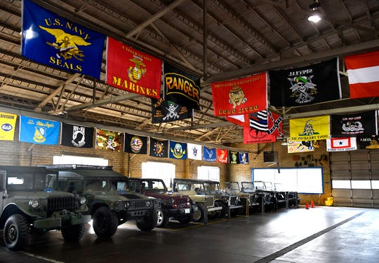 Military-style Jeeps and other vehicles are lined up at Fort Sam Military and Antique Vehicles, Haskell County Museum in Haskell Jan. 2.