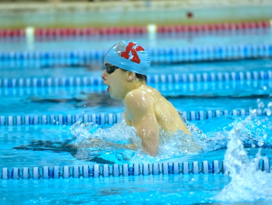 Kevin Glennon of Kings swims in the first heat of the finals of the boy 400-yard IM at the 2020 Southwest Ohio Swimming and Diving Classic, Jan. 18, 2020.