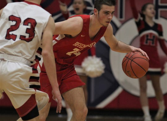 """Beechwood junior Scotty Draud dribbles up the court as St. Henry defeated Beechwood 49-46 in the boys basketball All """"A"""" Classic 9th Region championship Jan. 18, 2020 at St. Henry District High School, Erlanger, Ky."""