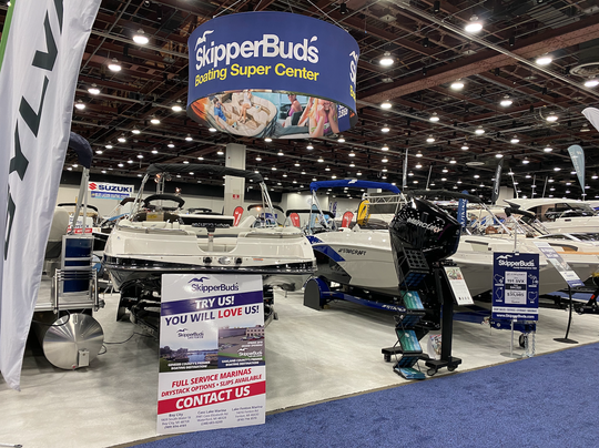 Skipper Buds boats at the Detroit Boat Show on Jan. 18