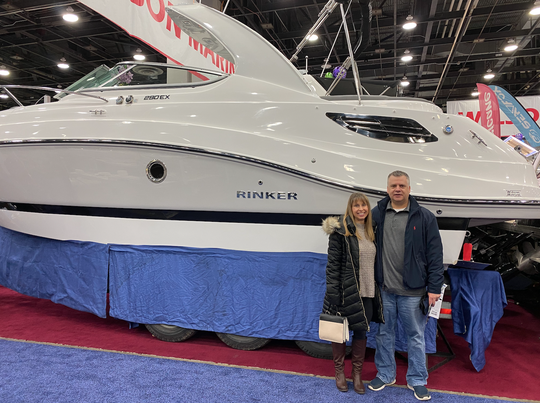 Jason and Kelli Lambrix were looking at the 2020 Rinker 290 EX at the Detroit Boat Show on Jan. 18