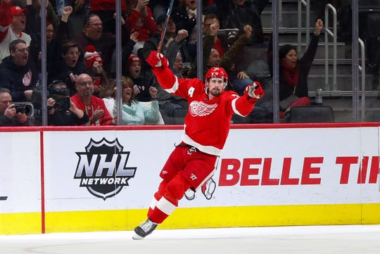 Red Wings center Dylan Larkin celebrates his goal in the second period of the Wings' 4-1 loss to the Panthers on Saturday, Jan. 18, 2020, at Little Caesars Arena.