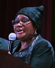 MLK Legacy Award recipient Lillie Bell Skinner of Core City Neighborhoods talks during the event.