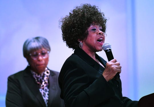 """Eleventh Annual MLK Legacy Awards recipient Caledonia """"Peaches"""" Anderson of UAW Local 600 Retirees Chapter President during the event."""