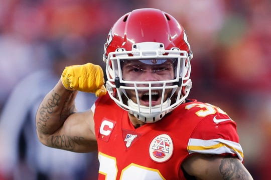 Chiefs defensive back Tyrann Mathieu reacts during the second half of the AFC Championship on Sunday.