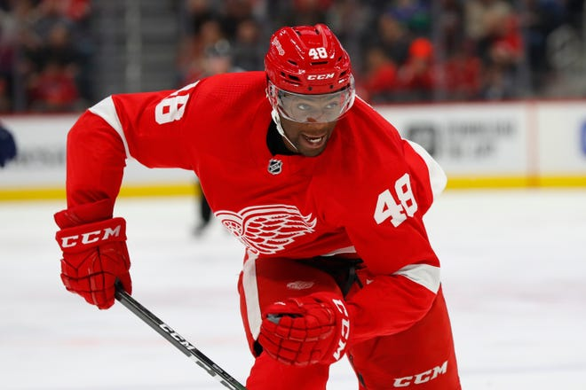 Detroit Red Wings right wing Givani Smith (48) plays against the Florida Panthers in the third period.