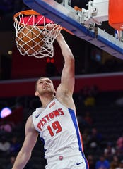 Sviatoslav Mykhailiuk came to the Pistons in a trade last season with the Los Angeles Lakers.