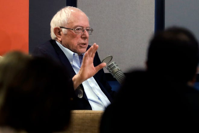 Democratic presidential candidate Sen. Bernie Sanders, I-Vt., speaks during a forum broadcast on radio in a New Hampshire Public Radio station, Sunday.