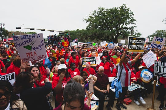 Educators, bus drivers and other public school employees rallied at the Old Florida Capitol  on Monday, Jan 13.