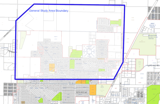The boundary of the proposed transportation study area is marked by blue.