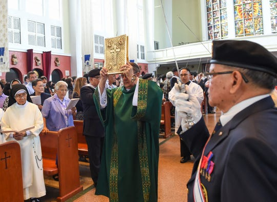 A ceremony is held for the investiture of Archbishop Michael J. Byrnes at the Dulce Nombre de Maria Cathedral-Basilica in Hagåtña, Jan. 19, 2020.