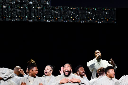 Kanye West performs with the Sunday Service Choir at the annual Strength to Stand Youth Conference at the LeConte Center in Pigeon Forge, Tenn. on Sunday, Jan. 19, 2020. West and his 100-member choir performed along with West's pastor, Adam Tyson.